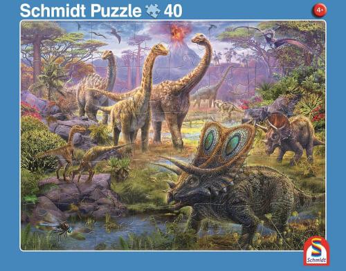 2er Set Rahmenpuzzles  Giganten der Urzeit 24 Teile/Dinosaurierwelt 40 Teile