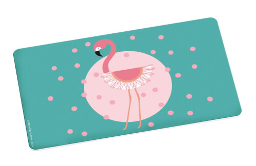 Flamingo Brettchen Türkis+Punkte